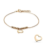 Dangling Heart Charmed Rose Steel Bracelet/Anklet