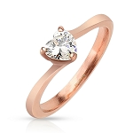 Heart Solitaire Rose Steel
