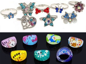 s kids resin bling and p rings kid
