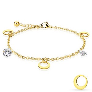 Moon and Gem Charmed Blonde Steel Bracelet/Anklet