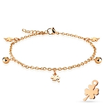 Shamrock Ball Charmed Rose Steel Bracelet/Anklet